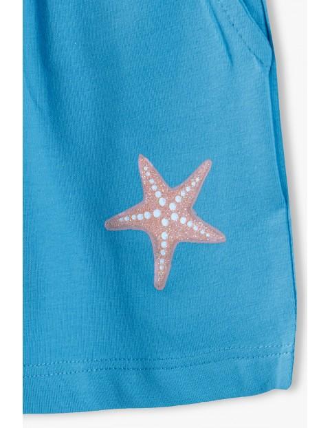 Szorty dziewczęce z gwiazdką - niebieskie