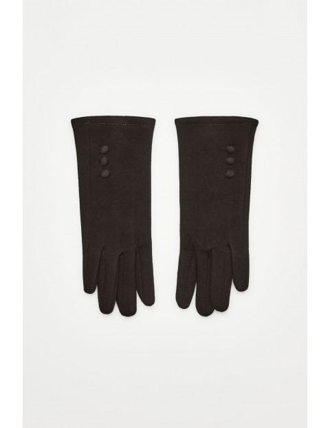 Rękawiczki z obszytymi guzikami - czarne
