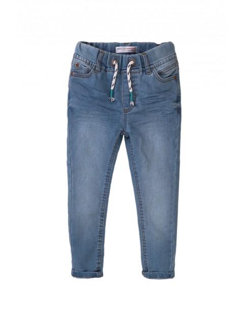 Spodnie chłopięce niebieskie z gumką w pasie