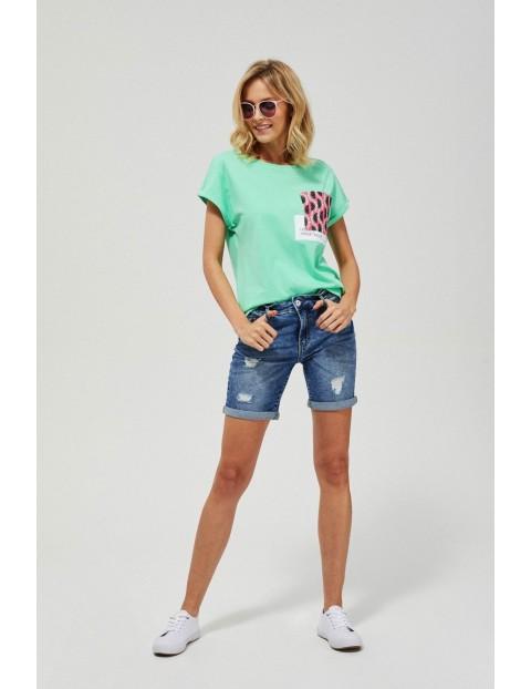 Szorty damskie jeansowe z przetarciami granatowe