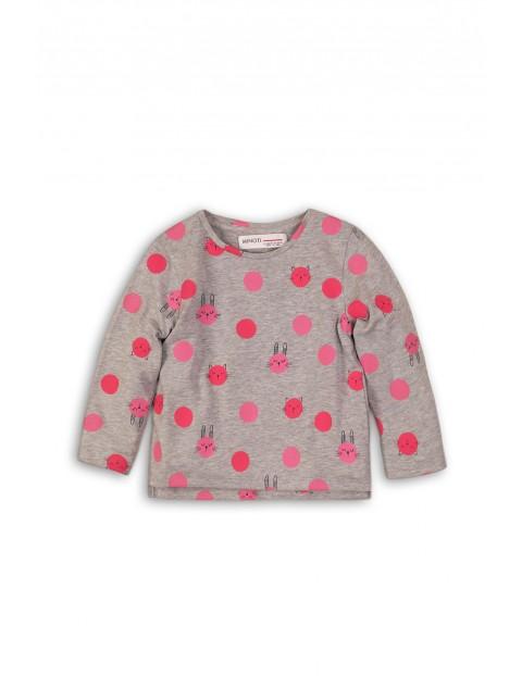 Bluzka dziewczęca szara w różowe kropki rozm 92/98