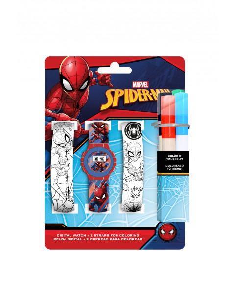 Zegarek cyfrowy z paskami do kolorowania i markerami Spiderman