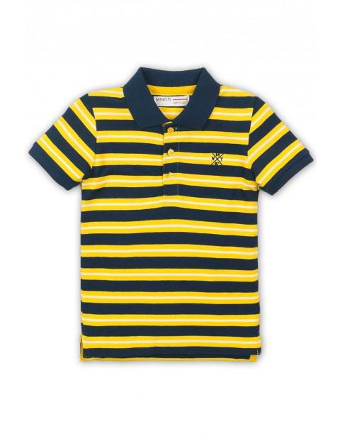 Koszulka chłopięca z kołnierzykiem w żółto-granatowe paski