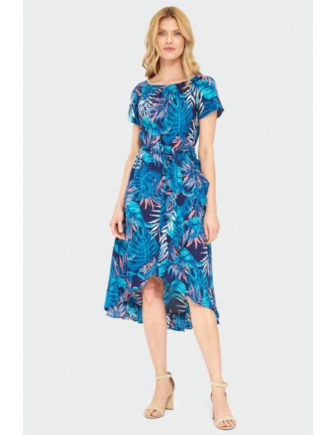 Wiskozowa sukienka z roślinnym nadrukiem typu hiszpanka- niebieska