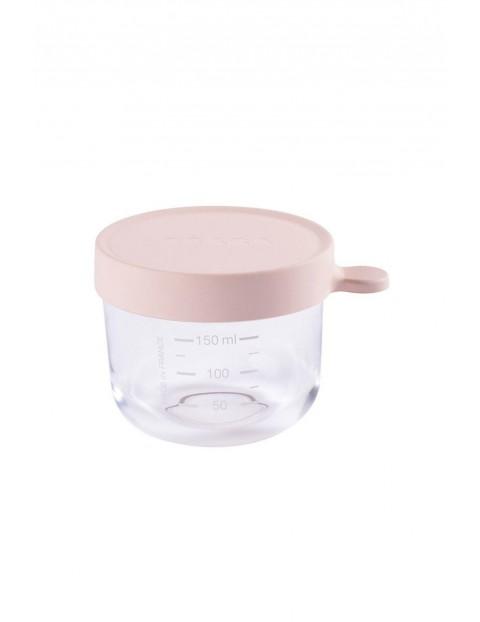 Pojemnik słoiczek szklany z hermetycznym zamknięciem 150 ml Beaba różowy