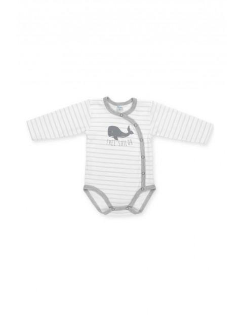 Body rozpinane długi rękaw dla noworodka szare