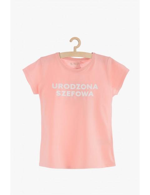 """T-shirt dziewczęcy różowy """"Urodzona Szefowa"""""""