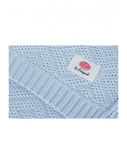 Kocy z bawełny supimy - błękitny 80x100cm