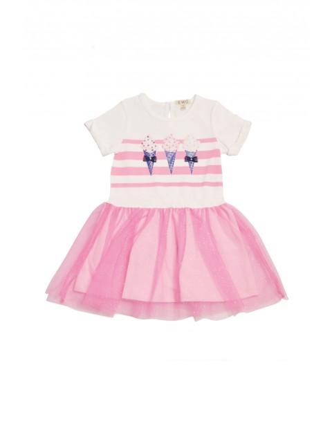Sukienka dziewczęca z różową tiulową falbanką