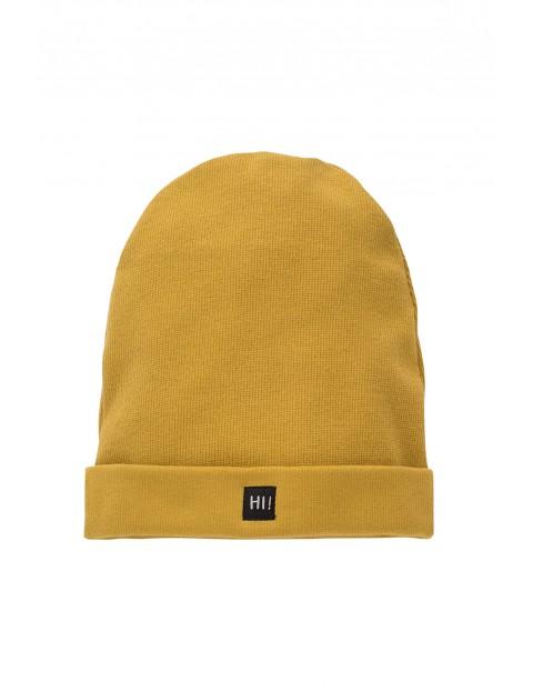 Ciepła czapeczka z napisem HI !- musztardowa