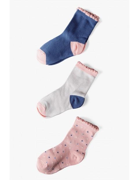 Skarpety dla dziewczynki - różowe, szare, niebieskie 3pak