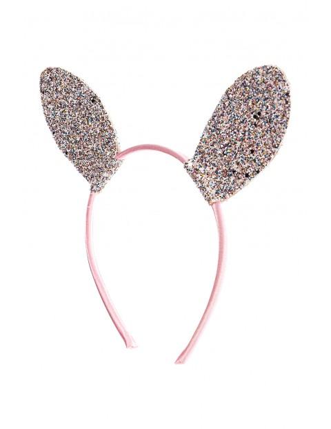 Opaska dziewczęca z brokatowymi uszami