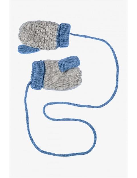 Rękawiczki z jednym palcem- szare na sznurku