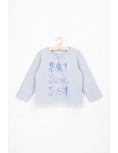 Bluzka niemowlęca niebieska z tiulową falbanką