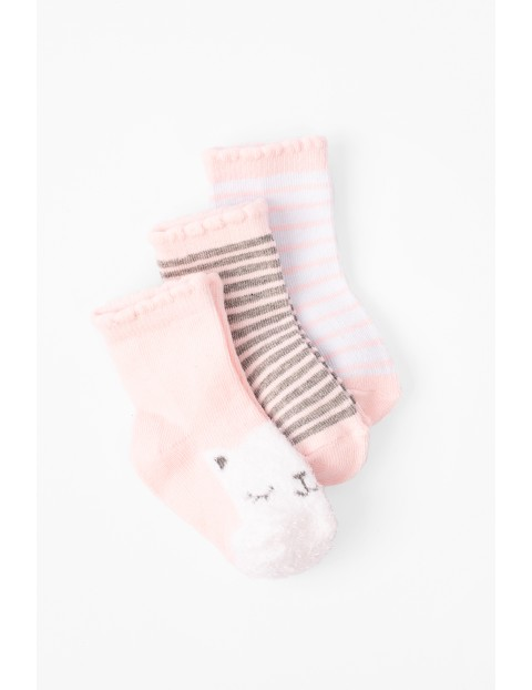 Skarpetki niemowlęce 3pak różowe