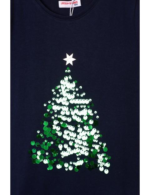 Granatowy t-shirt z motywem świątecznym