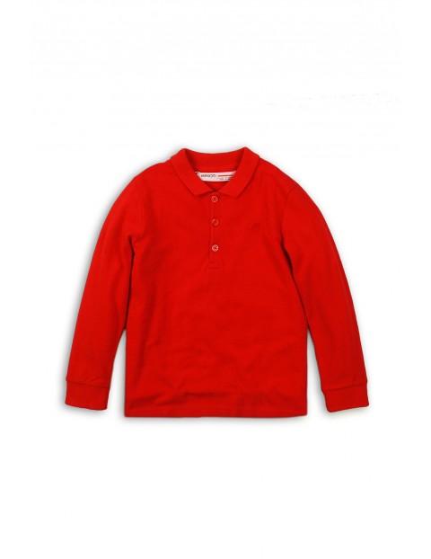 Bluzka chłopięca czerwona z kołnierzykiem i długim rękawem