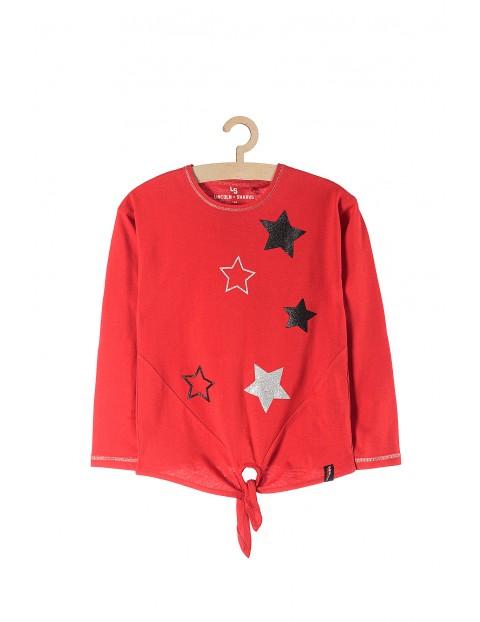 Bluzka dziewczęca czerwona w gwiazdki z ozdobnym wiązaniem