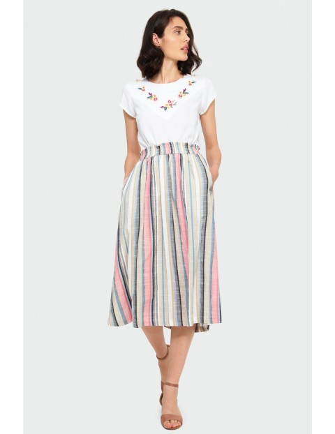 Wiskozowa spódnica damska w kolorowe  paski