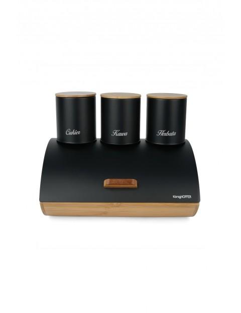 Chlebak bambusowy i 3 pojemniki stalowe - czarny komplet