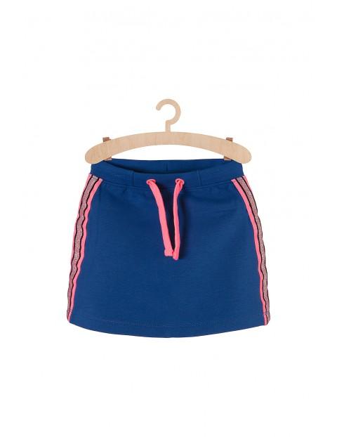 Spódnica niebieska dzianinowa z różowymi dodatkami