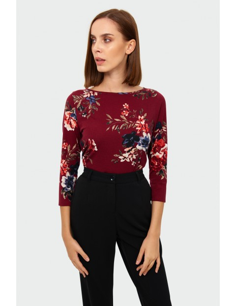 Bluzka damska w kwiaty 3/4 rękaw - bordowa w kwiaty