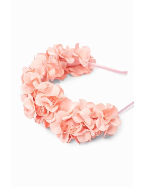 Opaska do włosów dla dziewczynki - różowe kwiatki