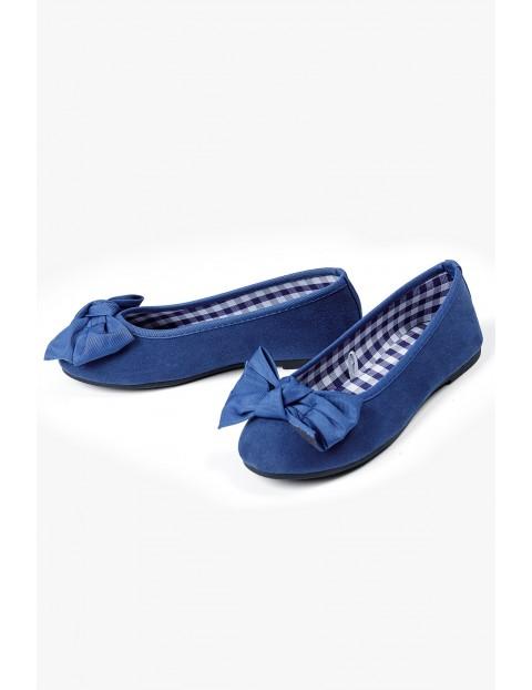 Granatowe baleriny z kokardkami - buty dla dziewczynki