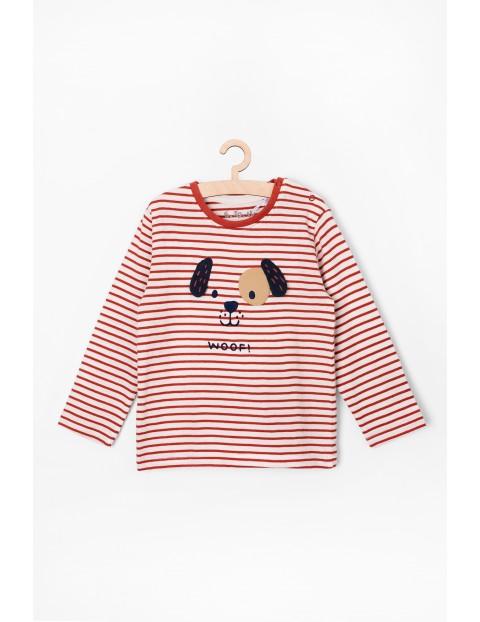 Bluzka niemowlęca bawełniana z pieskiem - w paski