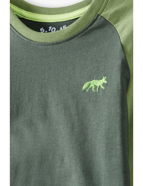 Bluzka chłopięca zielona z długim rękawem