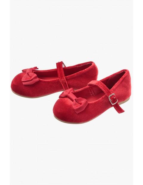 Baleriny z kokardką- czerwone