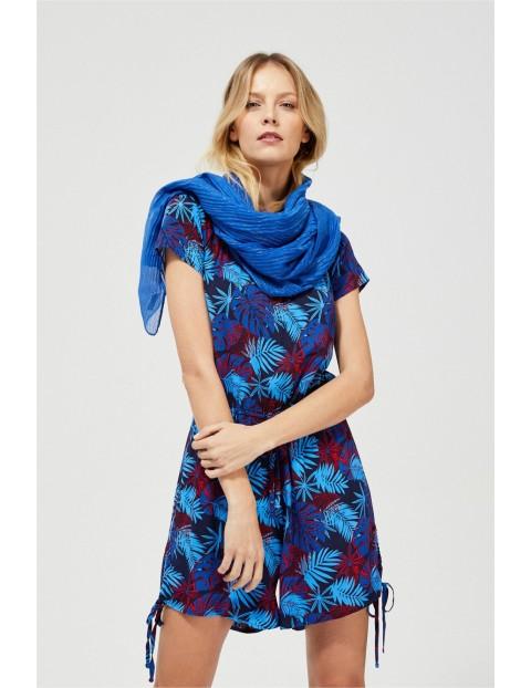 Szal damski plisowany w kolorze niebieskim