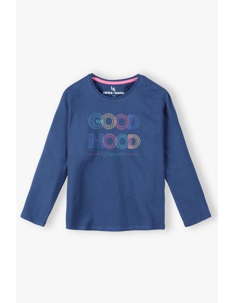 Granatowa bawełniana bluzka dziewczęca z napisem Good Mood
