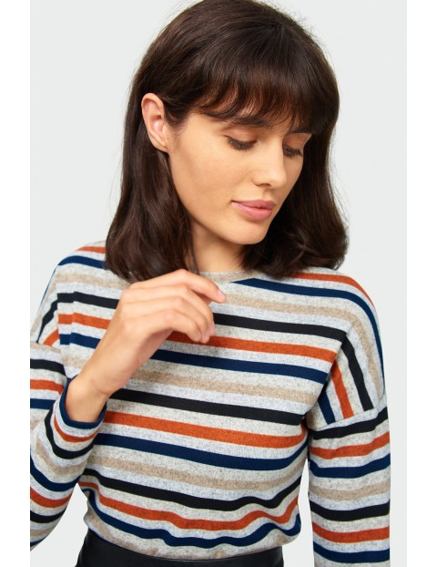 Sweter damski w kolorowe paski