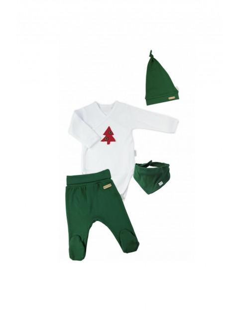 Komplet świąteczny niemowlęcy czapka, apaszka, body - biało-zielony