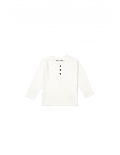 Bluzka chłopięca bawełniana biała z długim rękawem