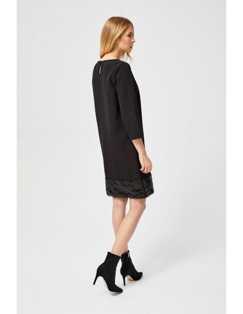 Sukienka czarna z cekinowym dołem