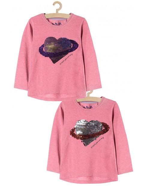 Bluzka dziewczęca różowa z cekinami
