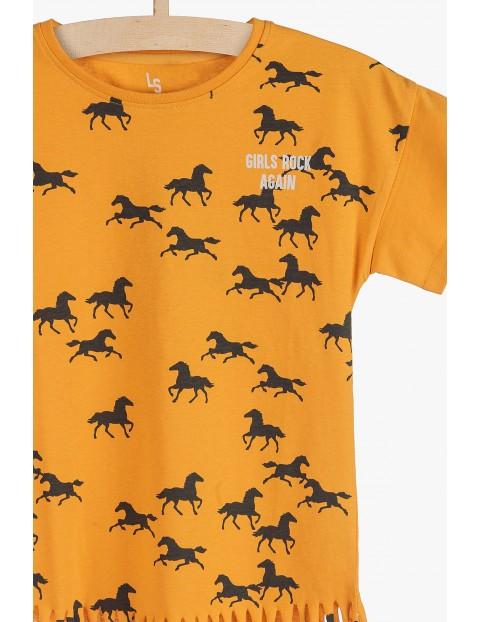 T-shirt dziewczęcy z frędzlami- żółty w konie