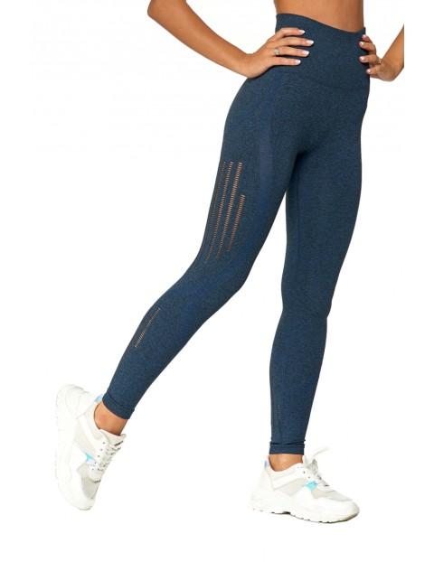 Sportowe legginsy damskie bezszwowe granatowe