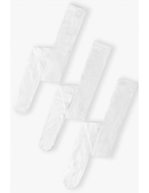 Rajstopy dziewczęce białe we wzory 3-pak