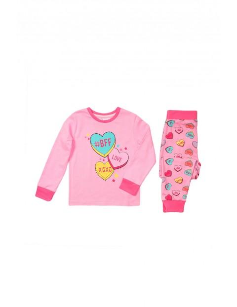 Pidżama dziewczęca różowa w serduszka