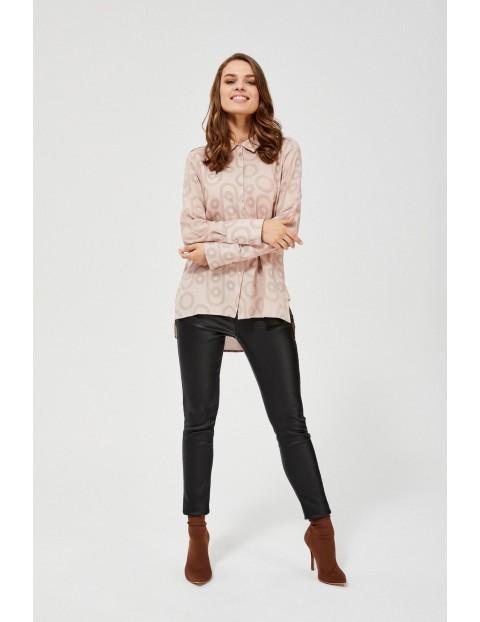 Koszula damska różowa na guziki z wzorem