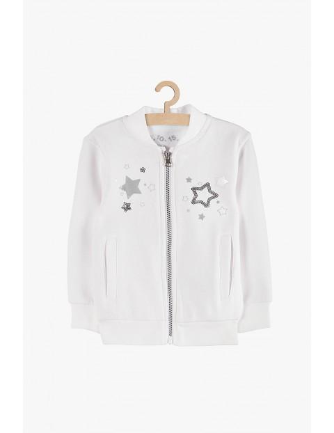 Bluza rozpinana dziewczęca biała z gwiazdkami