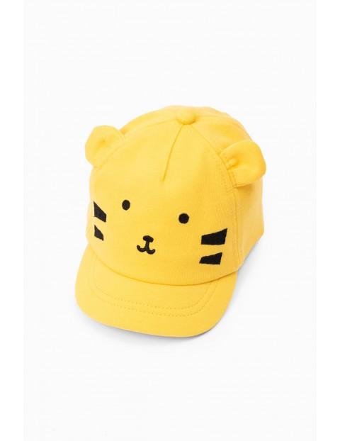 Żółta czapka niemowlęca z daszkiem z tygrysem
