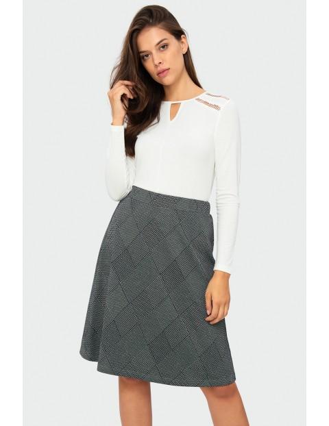 Rozkloszowana spódnica damska- szara w kratkę