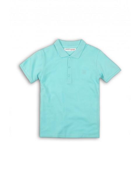 Koszulka chłopięca z kołnierzykiem- niebieska