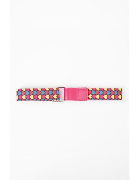 Pasek do spodni-różowy w kolorowe serduszka