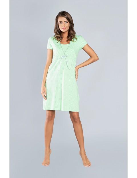 Koszula nocna dla przyszłej mamy FELICITA krótki rękawek - zielona
