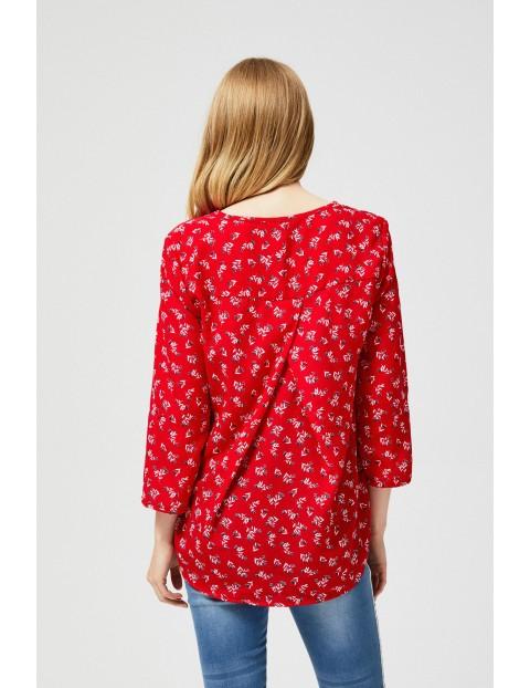 Koszula damska - czerwona w kwiaty